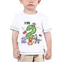 Baby Boy 2nd Birthday T-Shirt - I'm Two Wild 2 Jungle Animals Birthday Top Tee