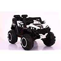 GetBest Hzl 4X4 Big Wheel Battery Operated Ride on Jeep for Kids with 4 Motors, Swing Function, Spring Suspension, Music and Remote Control, White