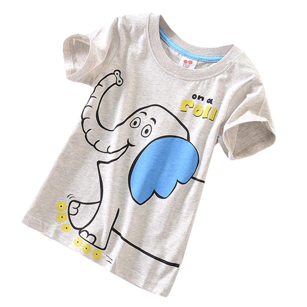 1-5 Years Toddler Kids Baby Boys Girls Clothes Short Sleeve Tops Blous Pollyhb Baby Boy Girl T-Shirt