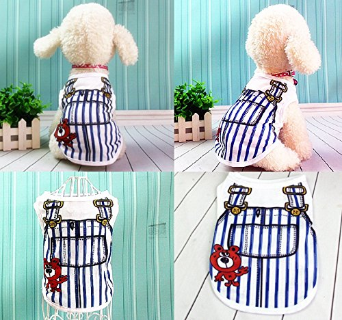 [Cute Puppy Dog Cats Summer Clothes T Shirt Braces Printing Sweatshirt Costumes (M)] (Costumes Braces)