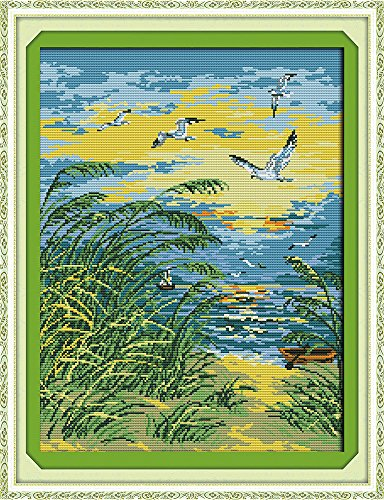 (CaptainCrafts Hot New DIY Art Cross Stitch Kits Patterns Needlecrafts Counted Embroidery Kit - Seaside Alpenglow Seagull (White))