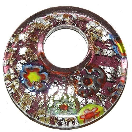 (Purple Gold Silver Multi Millefiori 52mm Round GoGo Donut Glass Pendant #ID-751 )