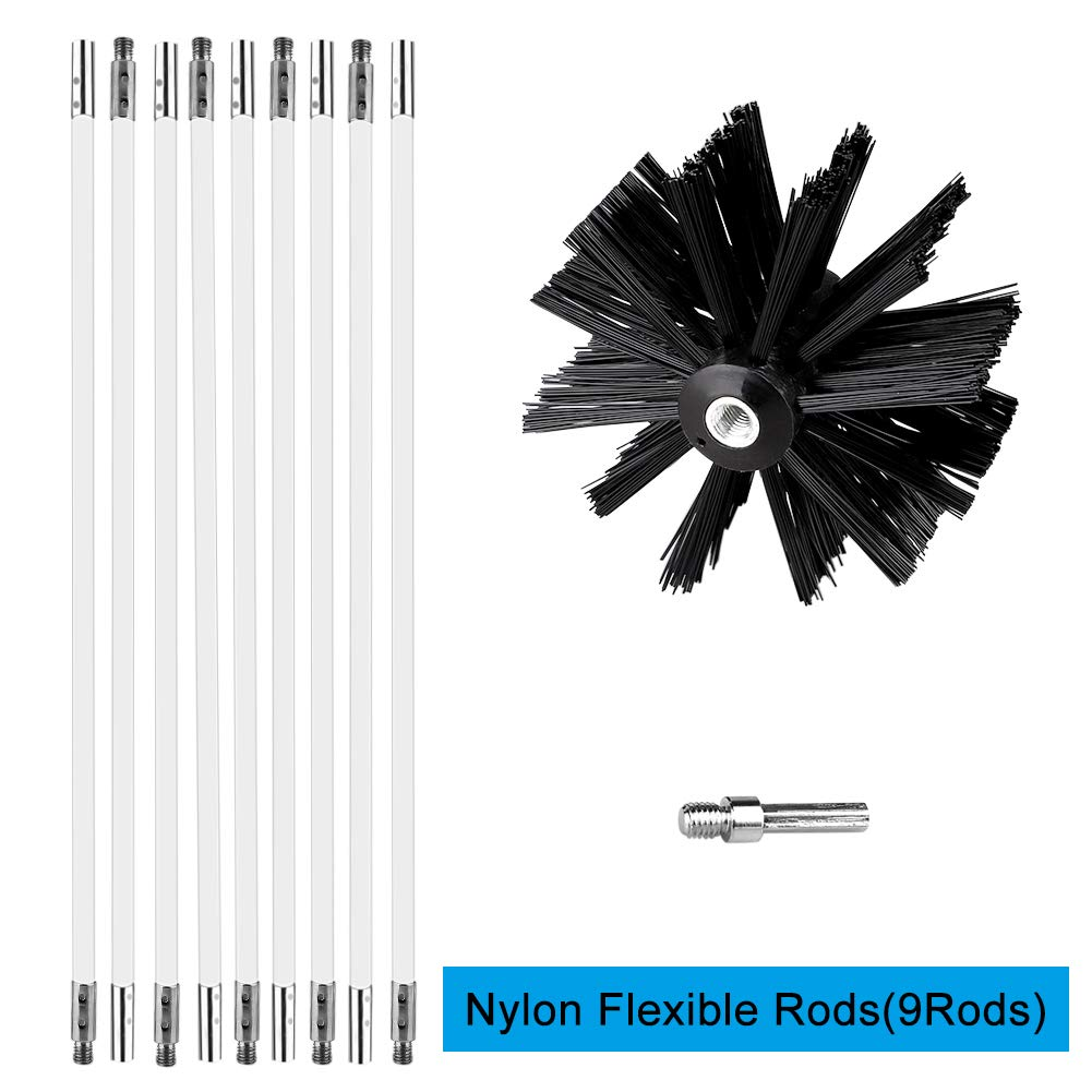 TITA-DONG 12ft Dryer Vent Cleaning Brush,Powered Rotating Dryer Duct Cleaning Tool kit for Cleaning Fireplace Chimney,Includes 9//15//18-Pieces Flexible Rods,Nylon Brush Head