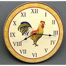 Rooster Clock Wooden Wall Mounted Time Decor Kitchen Farmhouse Animal Chicken Hen Home Ornament Christmas House Warming Gift Ideas