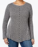 Style & Co. Womens Plus Ribbed Knit Boatneck Pullover Sweater Gray 3X