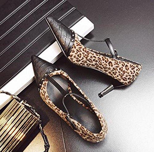 Easemax Kvinna Sexiga Nitar Stygn Faux Mocka T-remmar Spänne Spetsig Tå Låg Topp Mitten Kattunge Hälen Pumpar Skor Leopard