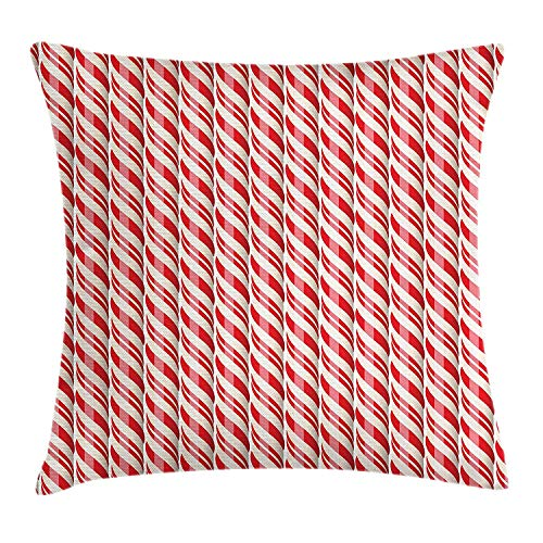 Queolszi Candy Cane Throw Pillow Cushion Cover, Red Christmas Candies Pattern with Diagonal Stripes Traditional Winter Sweets, Decorative Square Accent Pillow Case, 24 X 24 Inches, Red Cream