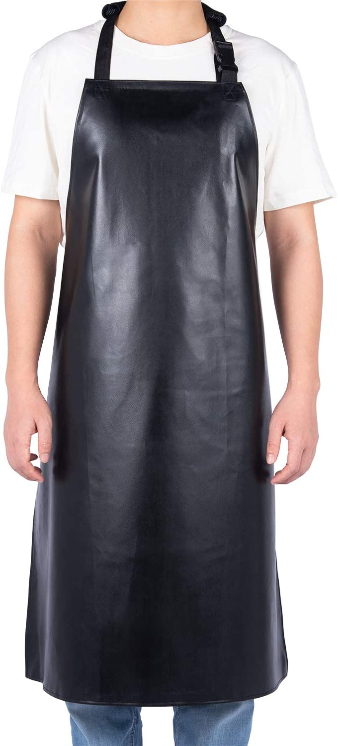 Homsolver Heavy Duty Vinyl Waterproof Apron Durable Ultra Lightweight Extra Long Black - Industrial Grade Material for Ultimate Protection