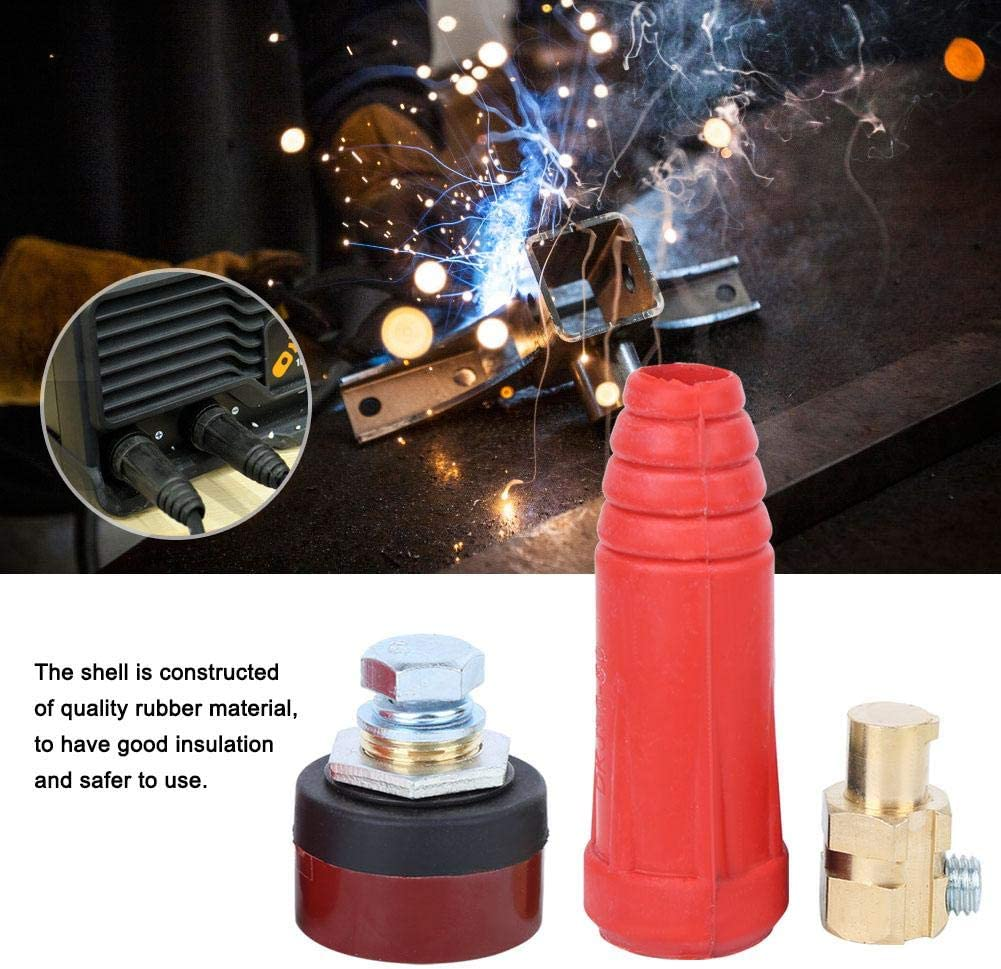 for Electric Welding Machine witth Good Oxidation Resistance Welding Cable Connectors,5pcs 35-50 Square Quick Connectors Red Cable Joint European Connecting Welding Long Round Type