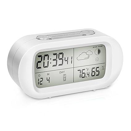 EIVOTOR, Reloj Despertador Digital Pequeño de Cabecera LCD con Función Snooze Luz Nocturna Fecha Temperatura