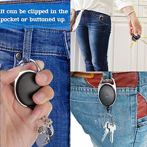 Koogel 8 Stück Ausweisjojo, Schlüssel JoJo mit Schlüsselring Schwarz Schlüssel Zipper für ID Badge Holder Kartenhalter Schlüsselkarten