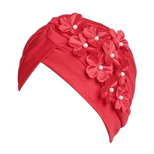 Jamicy Donne signore fiore design Boho cancro Beanie sciarpa turbante capo wrap Hat (Rosso)