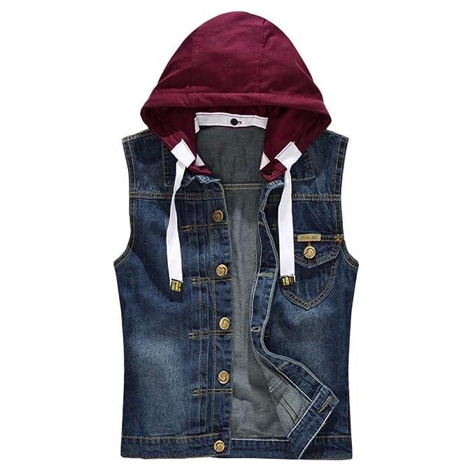 NREALY Chaqueta Vaquera Mens Denim Vest Casual Cowboy Jacket ...