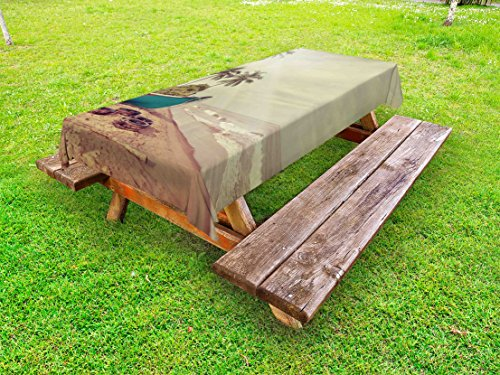 Lunarable Vintage Hawaii Outdoor Tablecloth, Old Boat and Dirty Tires Stranded on Beach with Calm Sea Clouds, Decorative Washable Picnic Table Cloth, 58 X 84 Inches, Teal Pale Brown Green by Lunarable