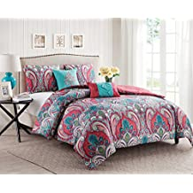 VCNY Home Casa Re'al Polyester 4 Piece Quilt Set, SUPER SOFT Quilt Set, Wrinkle Resistant, Hypoallergenic Bed Set, Twin, Multi