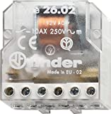 Finder 26.02.8.230.0000 DPST-NO 10A, 230V AC Coil, AgNi Contact, 2 Step Impulse/Latching Relay