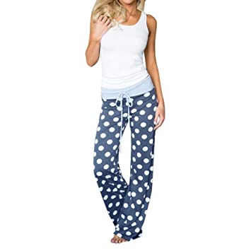 781e88a77e U.Expectating Women Trouser Casual Comfortable Womens Girls Dot Print  Drawstring Pants Wide Leg Sleepwear