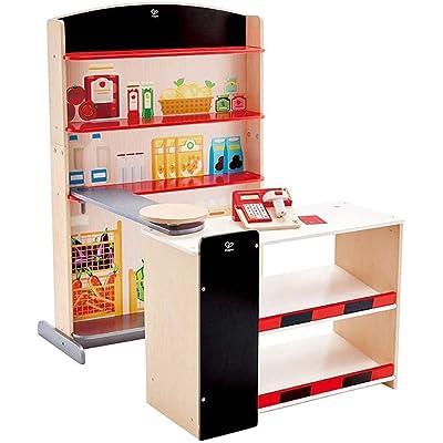 Hape Pop-Up Shop   Wooden Play Shop for Kids, Novelty Children'S Set with Accessories – Shelf, Scanner, Calculator + Card Reader for Ages 3+: Toys & Games