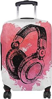 COOSUN Sketch Musique Casque Imprimer Voyage Bagages Housses de Protection Lavable Spandex Bagages Valise Couverture - Convient 18-32 Pouces M 23-26 in Multicolore