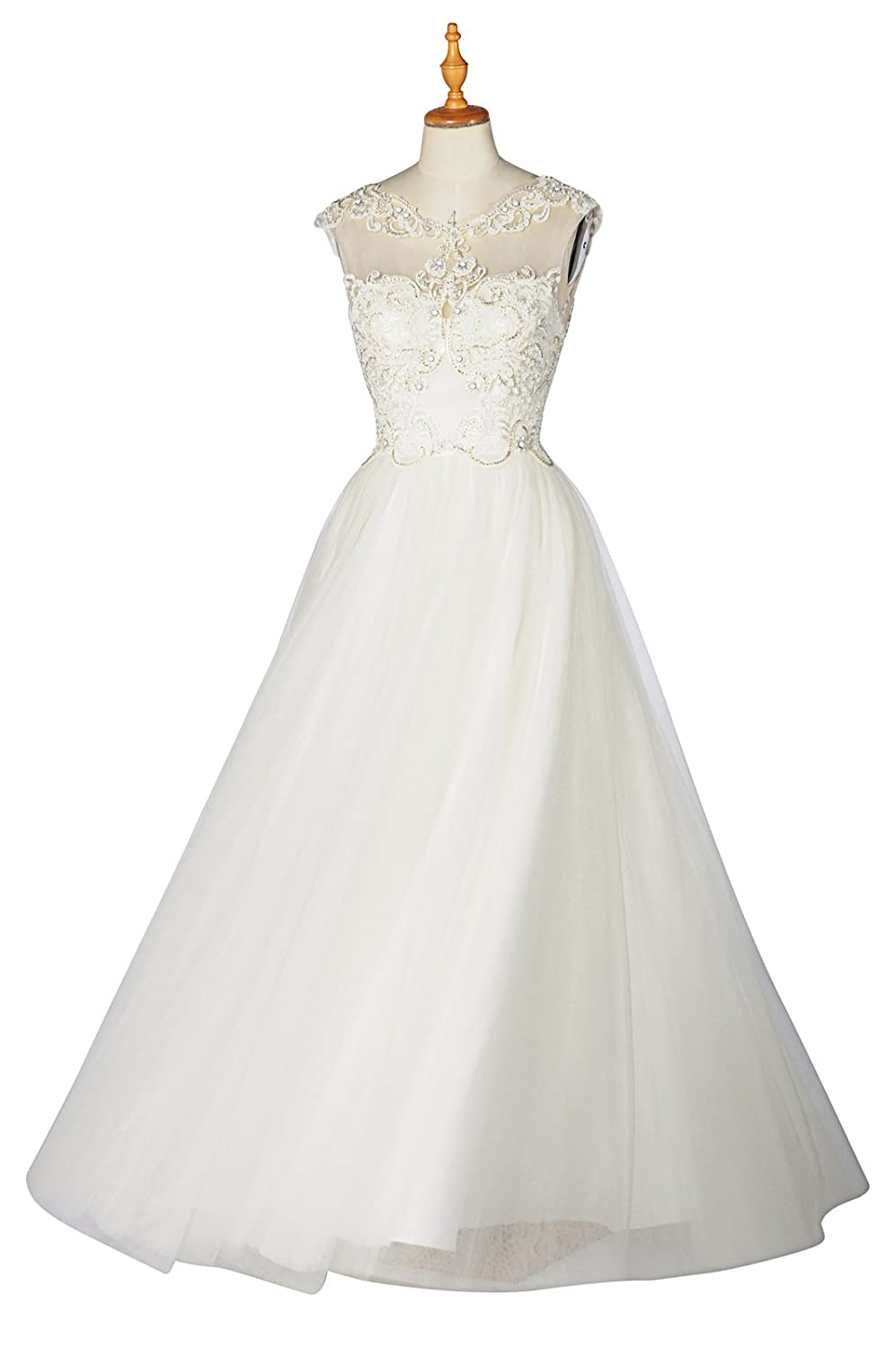 99gown Wedding Dresses For Bride Lace Natural Scoop Sleeveless Long
