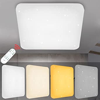 VINGO® 60W LED Deckenlampe Dimmbar Eckig Starlight Deckenbeleuchtung ...