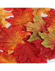Naler 300pcs Fall Decor Halloween Decoration Leaves, Artificial Maple Leaves for Art Scrapbooking, Wedding Thanksgiving Decor, Home Table Autumn Party Decorations, 3.1 inches