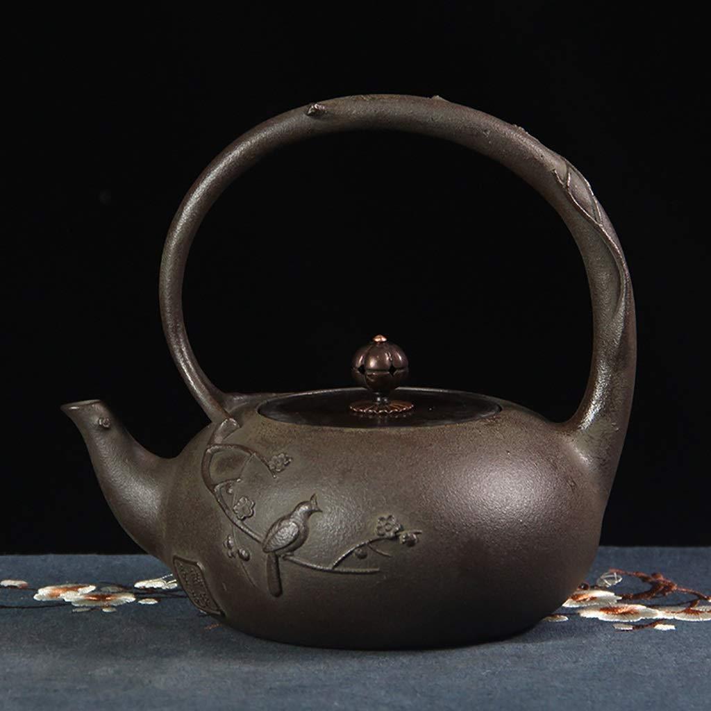 ティーケトル ティーポット 鋳鉄製ティーポット、和風てつビン茶碗1.0L、純正手仕事レトロ鋳鉄製ティーポット、茶器 B07SDRDKCZ