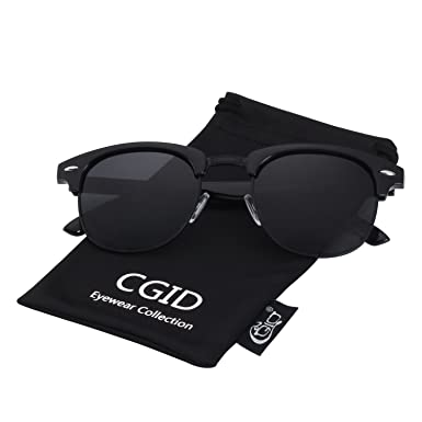 88be5d0d3ef CGID Classic Polarized Semi Rimless Unisex Horn Rimmed Sunglasses Mens  Womens