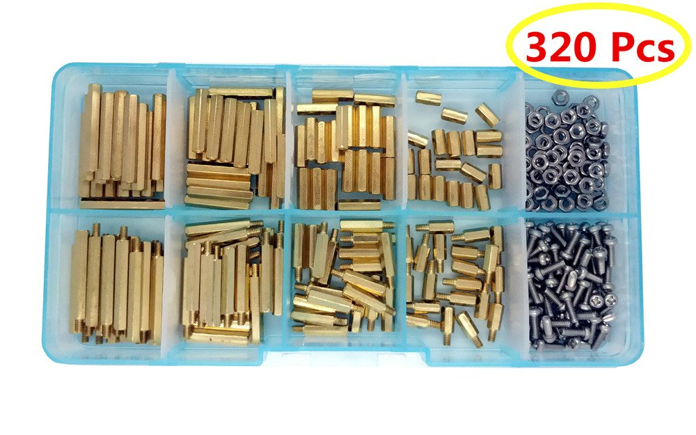 Guard4U 320pcs M2 Hex Male-Female Brass Spacer Standoff&Stainless Steel Screw Nut Assortment Kit