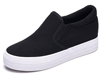 fc3fc66a2f5 IDIFU Women s Heighten High Platform Canvas Shoes Slip On Sneakers Black 4  B(M)