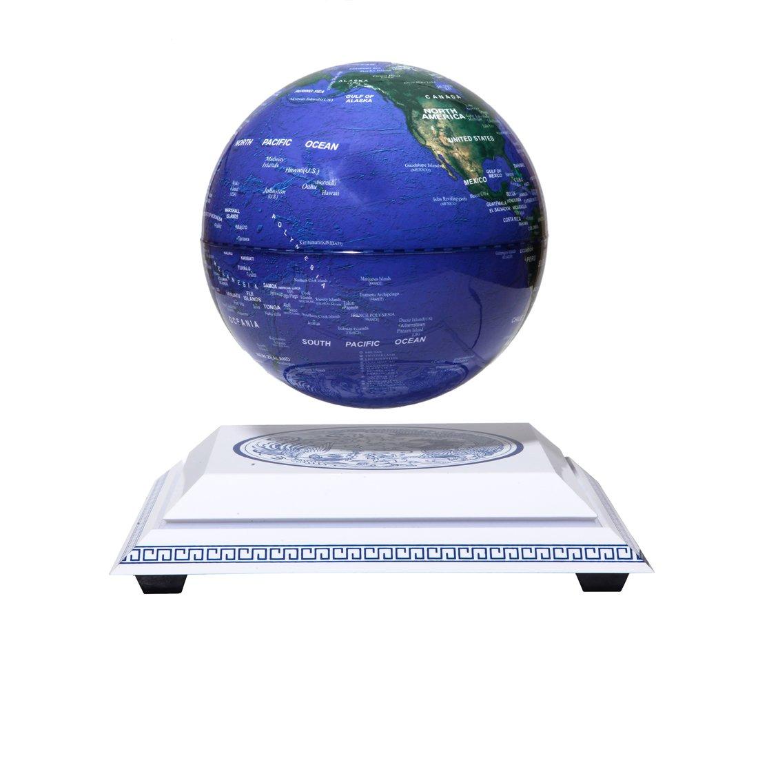woodlev Maglev Magnetic Levitation Levitron Floating Rotating Wireless Transmission Light itself 6'' Blue Globe Chinoiserie Chinese Style Platform Learning Education Home Decor
