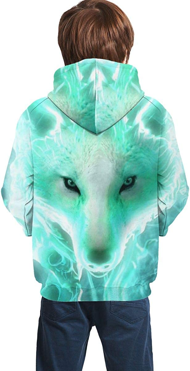 3D Print Pullover Hoodies with Pocket Fantasy Wolf Soft Fleece Hooded Sweatshirt for Youth Teens Kids Boys Girls 7-20 Years