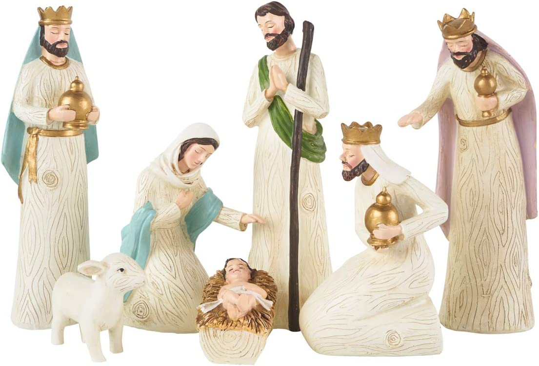 Born in Bethlehem Nativity Set - Nativity Sets for Christmas Indoor - Manger Scene Christmas Decorations - Christmas Nativity Set - Baby Jesus Nativity - Holy Family Nativity Scene - (7 PC Set)