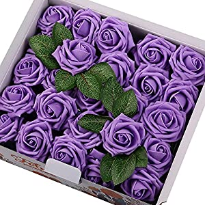 Febou Artificial Flowers, Real Touch Artificial Foam Roses Decoration DIY for Wedding Bridesmaid Bridal Bouquets Centerpieces, Party Decoration, Home Office Decor 5