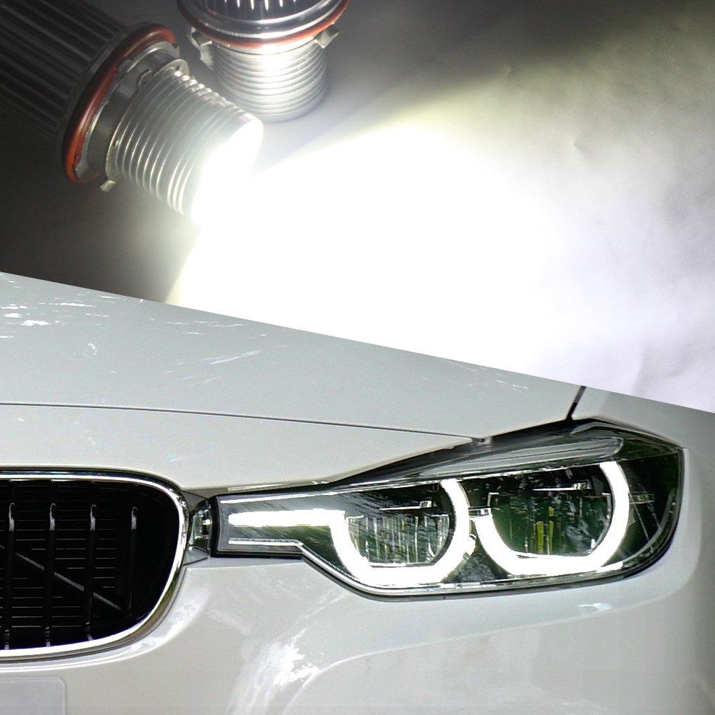 para B-M-W H8 LED Bombillas antiniebla DRL Angel Eyes Halo Ring Error Free 360 Degree 40W Blanco