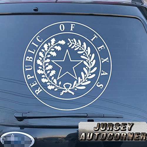 (Jursey Auto Seal of Texas State Republic Decal Sticker Car Vinyl pick size color die cut no background (white, 12'' (30.5cm)))