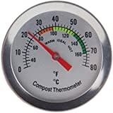 Compost Thermometer Stainless Steel Dial for Home and Backyard Composting - 50 mm Diameter C and F Dial, 295 mm…