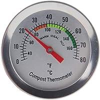 Termómetro de compost – Termómetro de esfera de acero inoxidable para compostaje en casa y patio trasero – 50 mm de…
