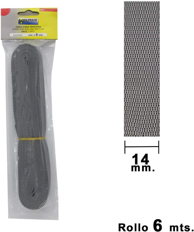 Wolfpack 5250005 Cinta persiana 14 mm gris rollo 50 metros