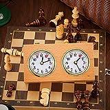 Wood Chess Clock Retro Chess Timer Clock Wind-Up