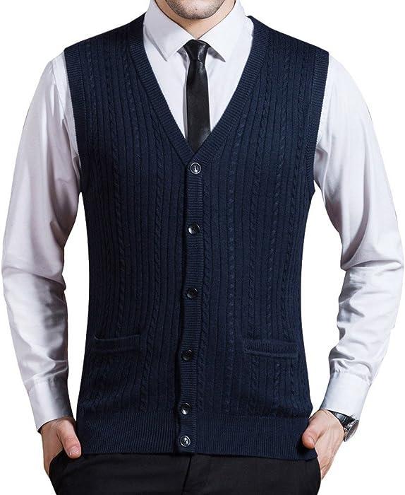 4006a1fbf480a Men s Business Solid Button Knitwear Sweater Vest Sleeveless Knitted  Waistcoat