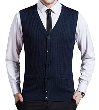 Zicac Men's Business Solid Button Knitwear Sweater Vest Sleeveless ...