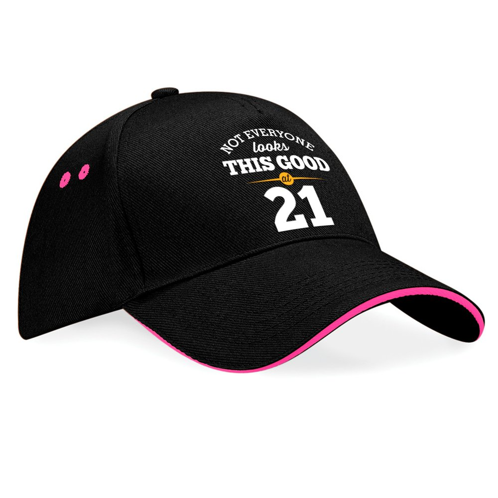 21st Birthday, 21st Birthday Gift, 21st Birthday Gifts For Men, 21st birthday gifts for women, 1995 Birthday, Still Looking Good At 21, Hat, Baseball cap (Black (Fuchsia Trim)) Design Invent Print!