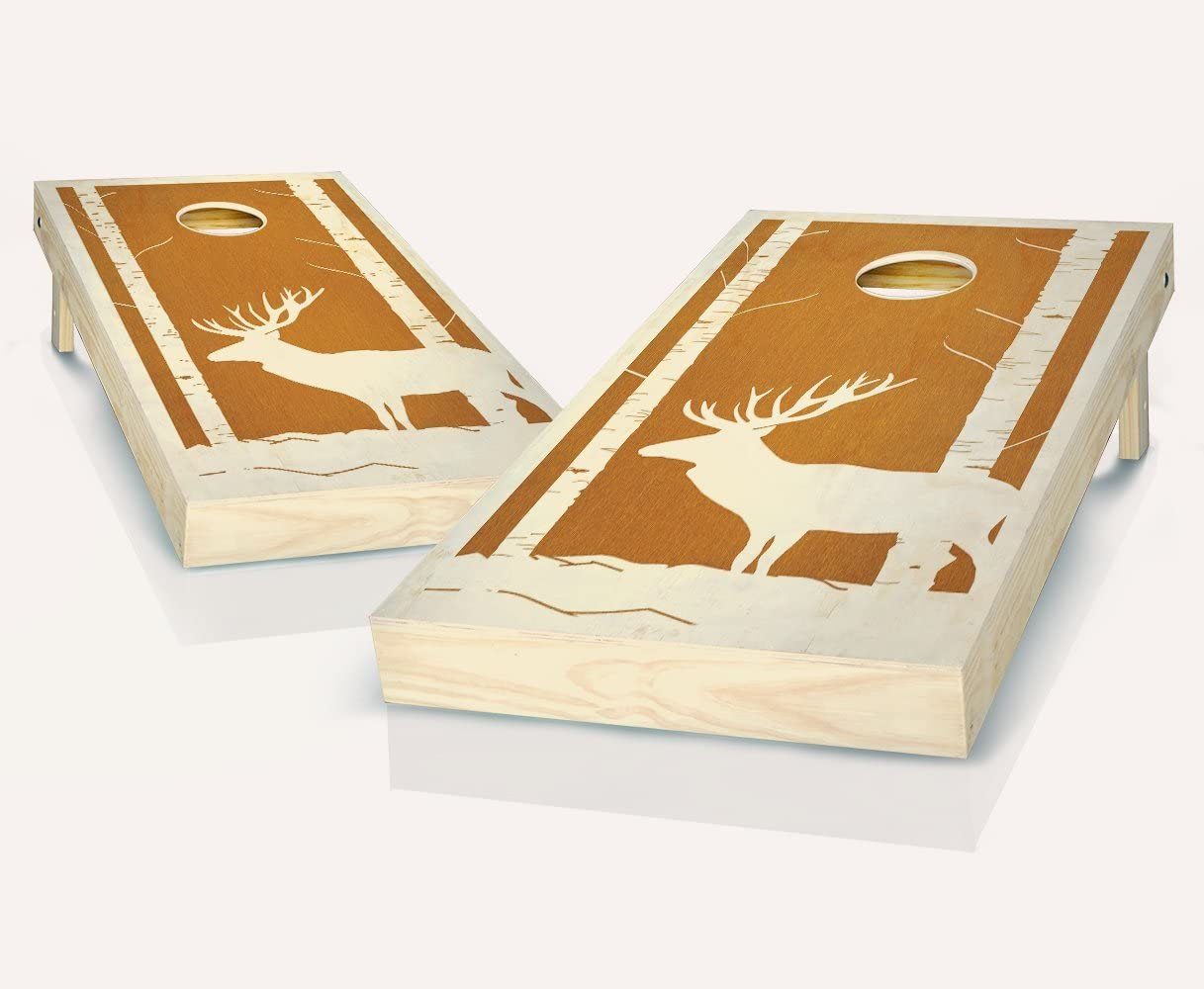 BuckウッズMaple Stained Cornhole Boards withのセット8 Cornhole Bags