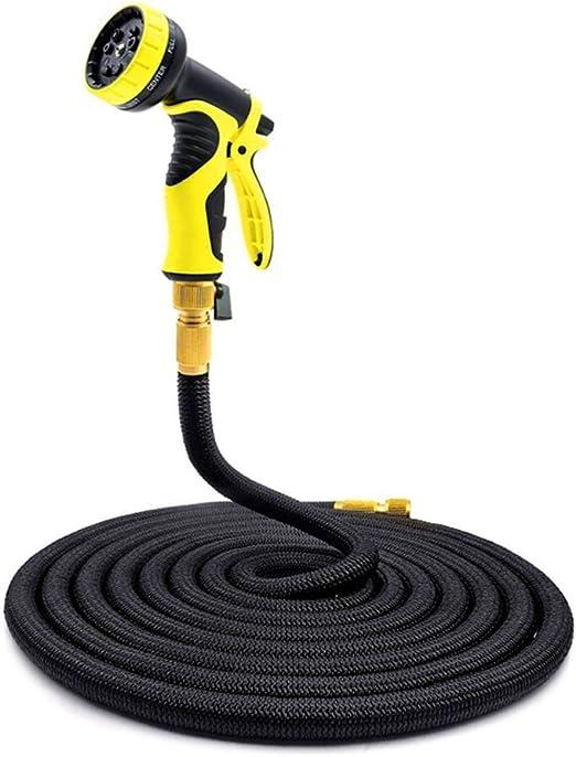 Manguera de agua extensible para jardín – negro elástico manguera de jardín sin tinta, triple capa y conector de latón con 9 patrones de alta presión de boquilla de spray de agua: