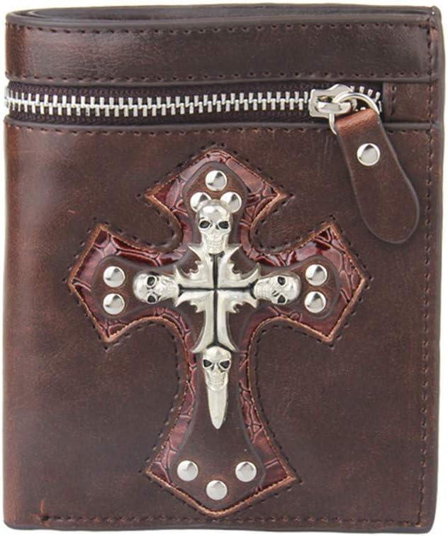 Jingya Cartera para Hombre Personalidad Punk Cartera Gótico Western Clutch Purse Wallet W/Coin Pocket, Regalo para Novio, Colega, Padre,Brown