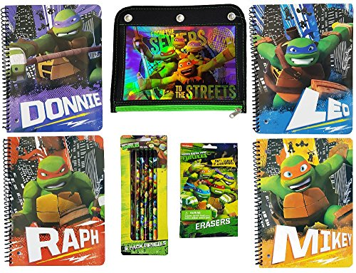 Teenage Mutant Ninja Turtles Back to School Bundle of Seven Items: Four TMNT One Subject 80 Sheet Wide Ruled Notebooks, One Pack of 6 Pencils, One Package of 2 Mystery Erasers and 1 Pencil (Ninja Turtle Sai)