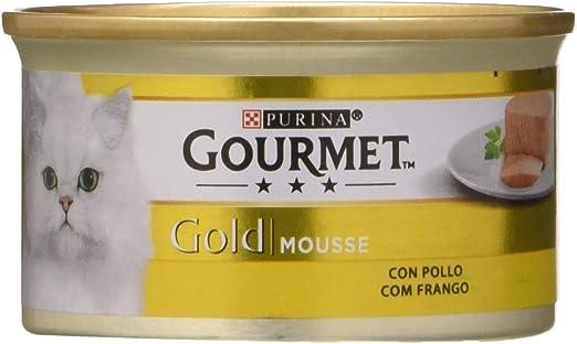 Purina Gourmet Gold Mousse Comida para Gatos con Pollo, 24 x 85 gr: Amazon.es: Productos para mascotas