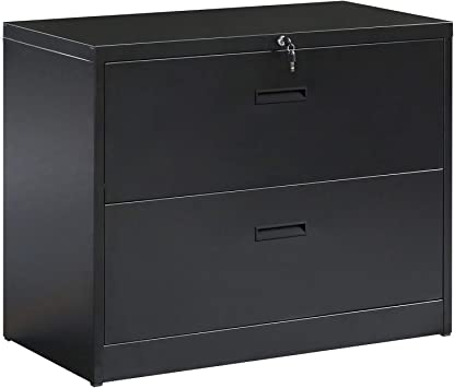 """ModernLuxe 3-Drawer Heavy-Duty Lateral File Cabinet Black 35.4/""""W/×17.7/""""D /× 40.3/""""H"""