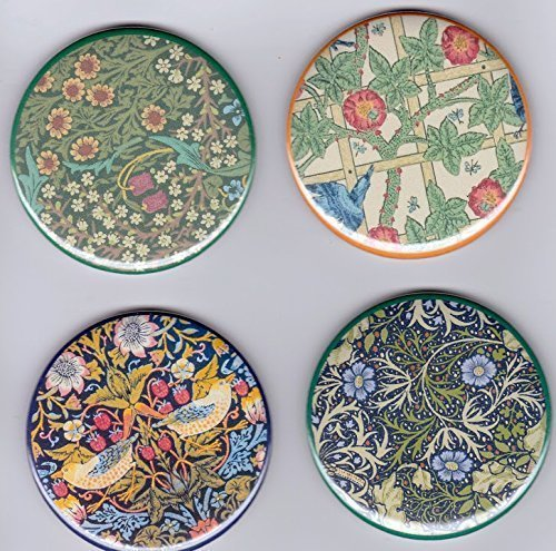 "William Morris Arts & Crafts Large 2 1/4"" Decorator Fridge Magnets 2.25"" set of Multi Color Floral Refrigerator Magnets from Artist Pines Hand Crafts & Home Decor"